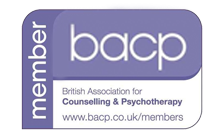 About Me. British Association of Counselling & Psychotherapy member badge bearing the letters bacp. Purple on a white background.